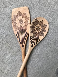 Matcing Set Spatula Spoon Woodburned Wood Wooden Kitchen Utensil Handmade Burned by Hand Original Art Functional Decorative Art OOAK by BeeSymmetry on Etsy https://www.etsy.com/listing/543326864/matcing-set-spatula-spoon-woodburned