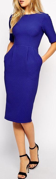 textured cobalt dress