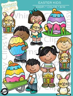 The Easter Kids clip art set contains 40 image files, which includes 21 color images and 19 black and white images in png and jpg. All images are 300 dpi for better scaling and printing.