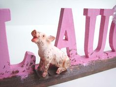 Stand Up LAUGH WORD Humorous Laughing Pig in by SGArtandFashion