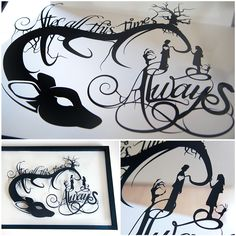 """""""After all this time?"""" """"Always."""" Snape and Lily - Harry Potter silhouette handcut paper craft in float frame from one black sheet 14""""x20"""" here: willpigg.etsy.com"""