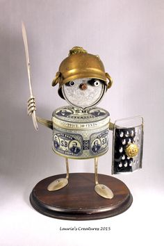 """Sir William Andrew of Pough Keep"" ~ Found object/junk art created by Laurie Schnurer in 2015. The tin opens and is usable."