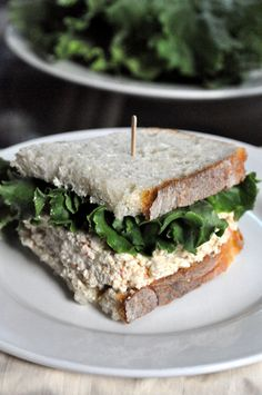 Tofu Salad Sandwich.  Made this super fast in my Bullet. I put this in some toasted sourdough. Delicious!