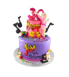 Jem and the holograms two tier cake with modelling chocolate toppers