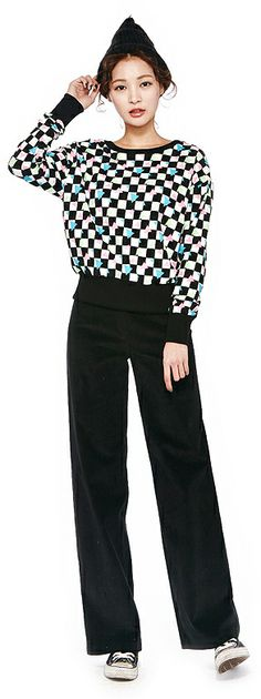 Neon Checkered Sweatshirt, Wide Corduroy Pants | 2014 Spring & Summer | Dolly & Molly | www.dollymolly.com | #women #girly #red #vintage #2014ss #dailystyle #lookbook #ootd #korea #fashion #colorful #checkered #chic #beige #unique