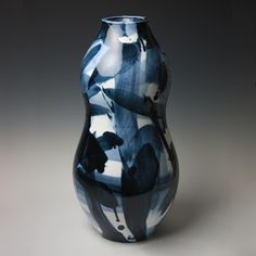 Blue and White Gourd | Thrown and glazed porcelain, painted with cobalt blue oxide | Felicity Aylieff , 2012