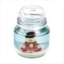Merry Snowman Gel Candle