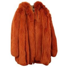 Pre-owned Fur coat (33.460 DKK) ❤ liked on Polyvore featuring outerwear, coats, orange, brown coat, fox coat, orange coat, dolce gabbana coat and brown fur coat
