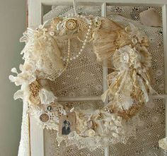 textile rose wreath with pearls.  shabby chic