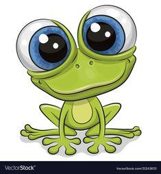 Cartoon Kunst, Cute Cartoon Drawings, Cute Animal Drawings, Art Drawings Sketches, Cartoon Art, Cute Cartoon Animals, Cartoon Mignon, Art Fantaisiste, Frog Drawing