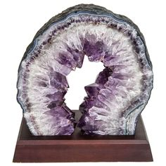 Exquisite Quartz and Amethyst Geode Sculpture on Stand
