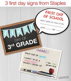 Printable sign for the first day of school! Their backpacks are full. Their lunches are packed. Now get them 110% ready for school with a first-day photo.