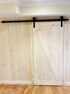 Sliding Pine Barn Door purchased through and installed by Windsor Plywood Langley. Sliding Barn Door Hardware, Sliding Doors, Garage Doors, Diy Barn Door, Door Ideas, Plywood, Windsor, Pine, Camper