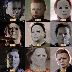 The many faces of Michael Myers Slasher Movies, Horror Movie Characters, Best Horror Movies, Classic Horror Movies, Horror Films, Scary Movies, Halloween Movies, Halloween Horror, Halloween Art