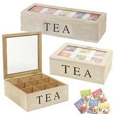 5 6 or 9 Compartments Wooden Tea Box Hinged Lid Tea Bag Storage Box Kitchen Home in Home, Furniture & DIY, Storage Solutions, Storage Boxes | eBay