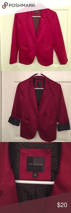 The Limited soft knit blazer This blazer is gorgeous cranberry/crimson color and has a contrasting white/black polka dot lining that shows when sleeves are rolled. One button closure, functioning two slit pocket style front and gorgeous top-stitch detailing. This blazer is a size small and is a softer material that a normal dress blazer. Great for pairing at office and then rolling cuff to pair with jeans and heels for drinks after work! Morning to night piece! The Limited Jackets & Coats…
