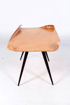Aldo Tura / Italian Post-War Coffee table with furled edges c. 1950 | From a unique collection of antique and modern coffee and cocktail tables at http://www.1stdibs.com/furniture/tables/coffee-tables-cocktail-tables/