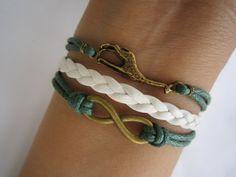 Antiqued Bronze Giraffe Bracelet Karma Infinity by WearingPretty, $4.99