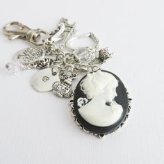Personalized cameo keychain l initial keychains with charms l for her l vintage style keyring l beaded bag charm l crystals