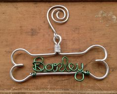 Personalized Pet Ornament - Handcrafted Wire Dog Bone with Pet's Name - Dog Christmas Gift