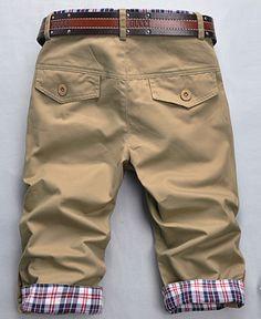 Summer Men Fashion Casual Plaids Three-quarter Casual Pants.