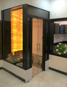 These Pooja Room Door Designs Are Simply Gorgeous! Modern glass pooja room door design with wood frame // wood pooja room design Pooja Room Door Design, Home Room Design, House Design, Design Bathroom, Wall Design, Design Art, Modern Design, Temple Room, Home Temple