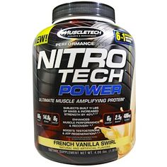Muscletech, Nitro Tech Power, Ultimate Muscle Amplifying Protein, French Vanilla Swirl, 4.00 lbs (1.81 kg) - iHerb.com
