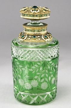 Bohemian cut glass perfume bottle.