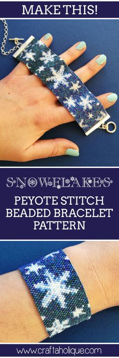 This winter inspired peyote stitch pattern features several soft snowflakes on a blue ombre background. See details of the pattern over at Craftaholique!