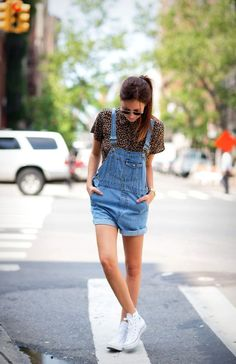 overalls + white sneaks