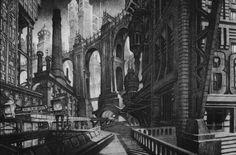 Design concept by Anton Furst for Batman directed by Tim Burton, 1989