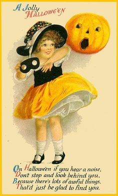 A jolly vintage Halloween wish to one and all! #vintage #Halloween #cute #pumpkin #card