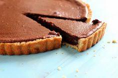 Silken chocolate tart with bourbon whipped cream? Um, YUM.