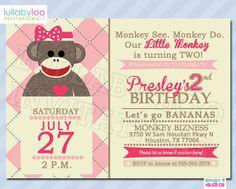 Hey, I found this really awesome Etsy listing at http://www.etsy.com/listing/129770646/sock-monkey-birthday-invitations-girls