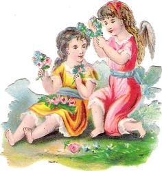 Oblaten Glanzbild scrap die cut chromo Engel angel Blumen Girlande garland