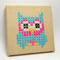 Cross Stitch Owl on Burlap Canvas Tutorial