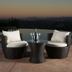 Angelina Wicker 3 Piece Patio Conversation Set | Hayneedle