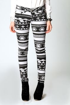 Hope Winter Washed Aztec Print Skinny Jeans