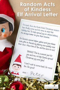 Random Acts of Kindness Elf Arrival Letter and gift ideas for your Christmas Elf on the Shelf. Encourages kids to give back and be Secret Santa.