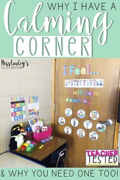 Using a calm down corner, or safe place, in the classroom is so important for allowing students to self regulate and providing them with strategies and tools to do so! It will improve classroom behavior and deescalate negative reactions! New Classroom, Classroom Community, Special Education Classroom, Setting Up A Classroom, Mindful Classroom, Kindergarten Classroom Decor, Kindergarten Reading Corner, Year 3 Classroom Ideas, Primary Classroom Displays
