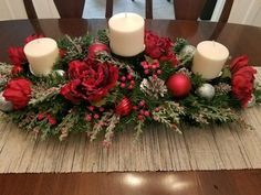 Christmas Centerpiece / XL Christmas Centerpiece/ Holiday Centerpiece / Mantle Decor / Red and Silver Centerpiece / Christmas Table Decor - christmas dekoration Christmas Candle Decorations, Christmas Flower Arrangements, Holiday Centerpieces, Christmas Candles, Holiday Decor, Silver Centerpiece, Floral Arrangements, Christmas Centrepieces, Garden Decorations