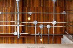 เดินท่อสายไฟ บ้านสไตล์ Loft Industrial Plug In Pendant Light, Loft House, Industrial Loft, Wind Chimes, Track Lighting, House Design, Ceiling Lights, Interior Design, Outdoor Decor