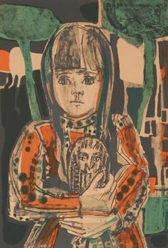 Francoise Gilot (French, Little Girl with Owl 1960 color lithograph Pencil signed and numbered Published by Associated American Artists, New York. x Mat staining. Love Painting, Figure Painting, Painting & Drawing, Francoise Gilot, Portrait Art, Portraits, Musa, Art For Art Sake, Life Drawing