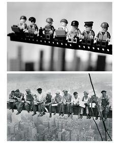 Famous photos remounted with Legos, by Mike Stimpson Legos, Lego Lego, Lunch Atop A Skyscraper, Collage Kunst, Atelier Photo, Classic Lego, Lego Room, Famous Photos, Cool Lego Creations
