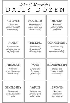 It is always fun to look at those areas of our lives that are most important to us, along with others doing the same. This is John Maxwell's Daily Dozen - yours might be different! Facilitating Tuesday nights have been special - going through this study with a terrific group!
