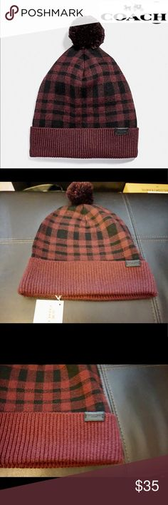 NWT Coach Pom Pom Hat Coach Hat Pom Pom Plaid beanie Burgundy color warm and cozy  55% wool blend Brand new with tags Coach Accessories Hats