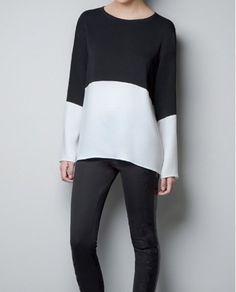 Camisa feminina bicolor Zara inspired