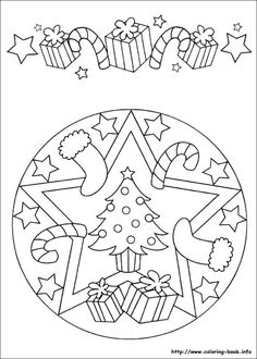 ☮ American Hippie Art ~ Coloring Pages .. Mandala Christmas