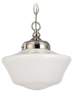 10-Inch Schoolhouse Pendant Light in Polished Nickel  - FA4-15 / GA10 / A-15 transitional-pendant-lighting    $89.95