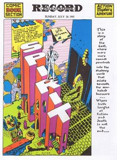 Today In Comics History: The First Appearance of The Spirit Comic Book Artists, Comic Books Art, Comic Art, Graphic Novel, Will Eisner, Design Palette, Letter A Crafts, Classic Comics, Kids Shows